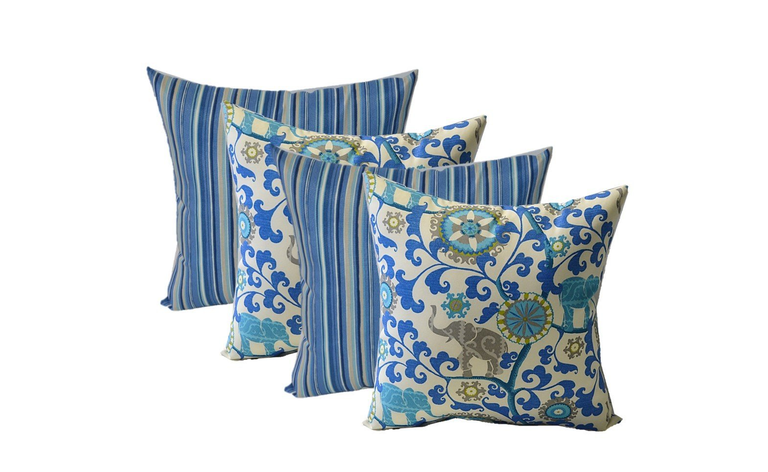 Set of 4 - Indoor / Outdoor 17'' Square Decorative Throw / Toss Pillows - 2 Sapphire Blue, Tan Stripe & 2 Sapphire Blue, Turquoise, Green, Gray Bohemian Elephant
