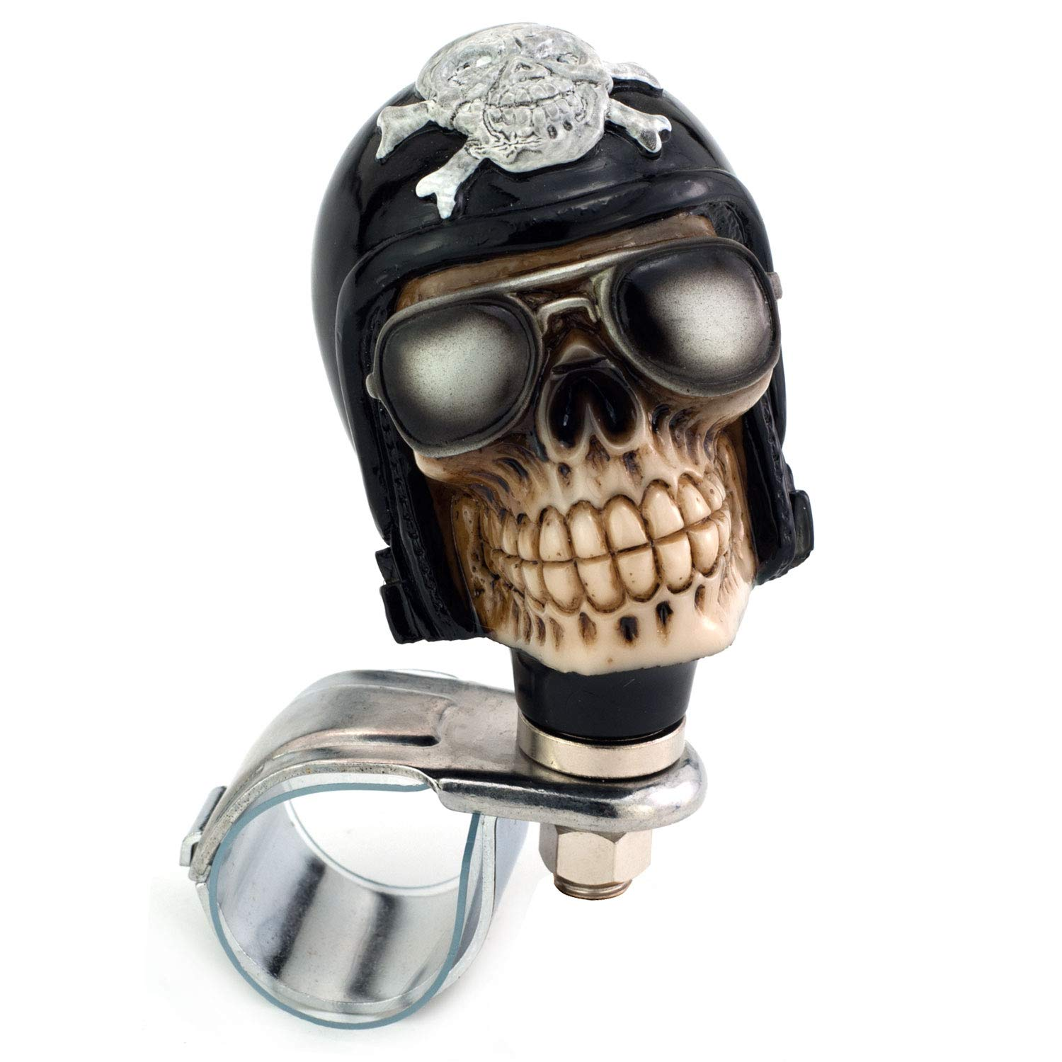 Pilot Style Car Power Handle Grip Knobs Fit Most Manual Automatic Vehicles Red Thruifo Skull Car Steering Spinner Wheel Suicide Knob