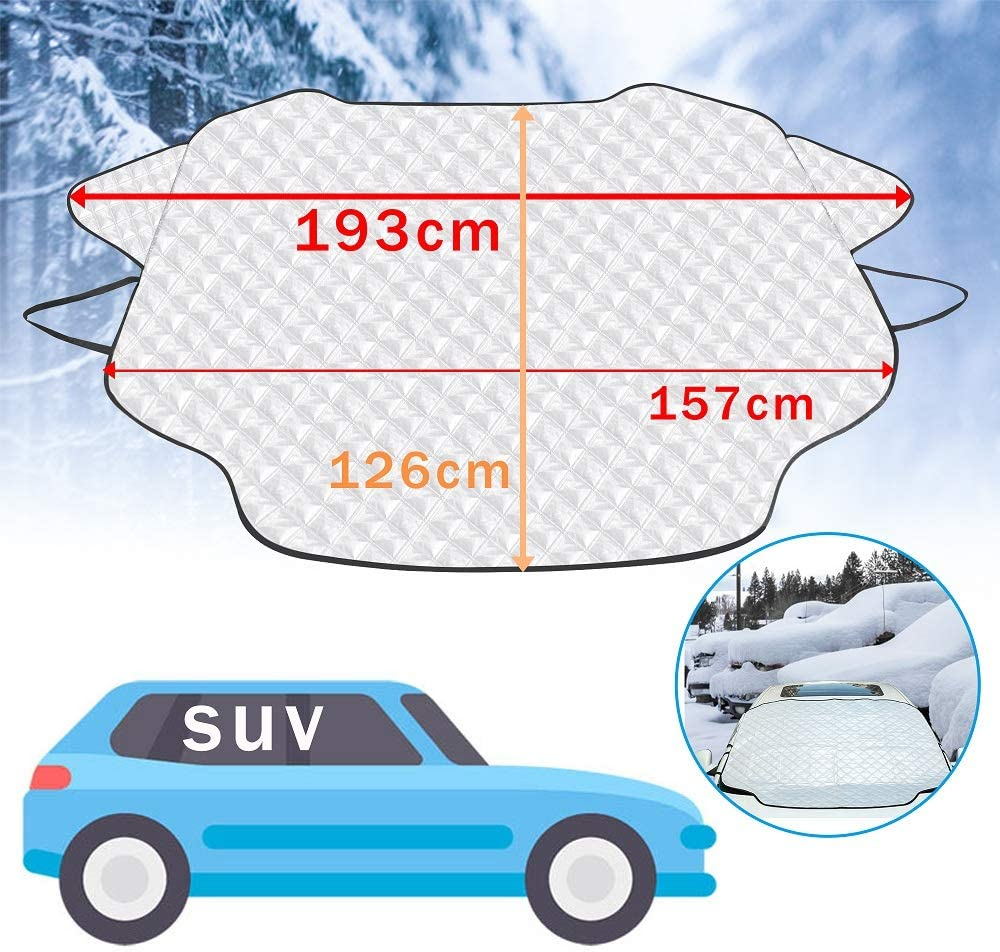 46 /× 58 Ice Frost,UV Full Protection Thicker 4 Layers Fits for Most Standard Cars,Medium PARAWEYSE Car Windshield Snow Cover Car Wiper Visor Frost Guard Protector Snow