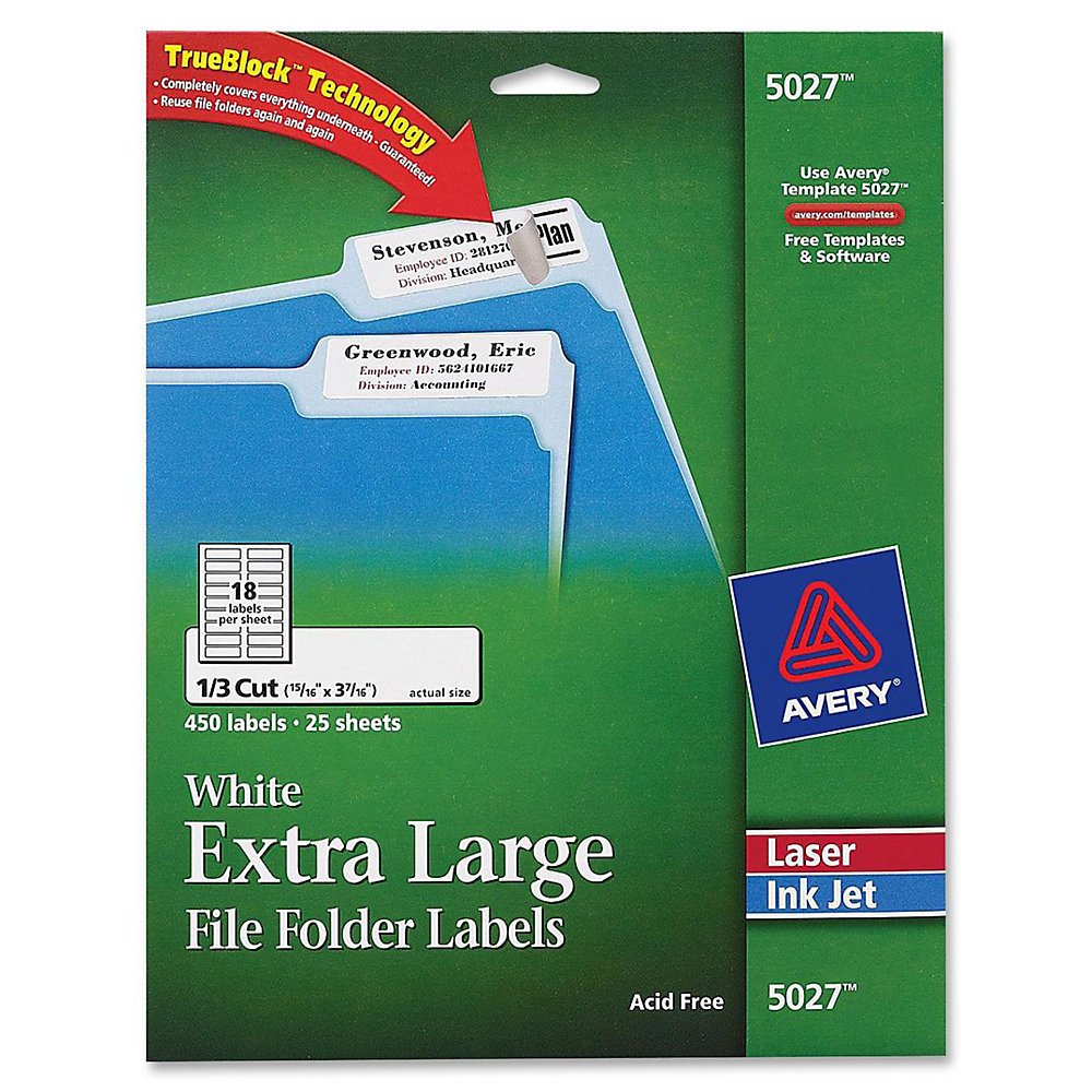Avery White Extra-Large File Folder Labels for Laser and Inkjet Printers with TrueBlock Technology, 15/16 inches x 3-7/16 inches, Pack of 450 (5027)