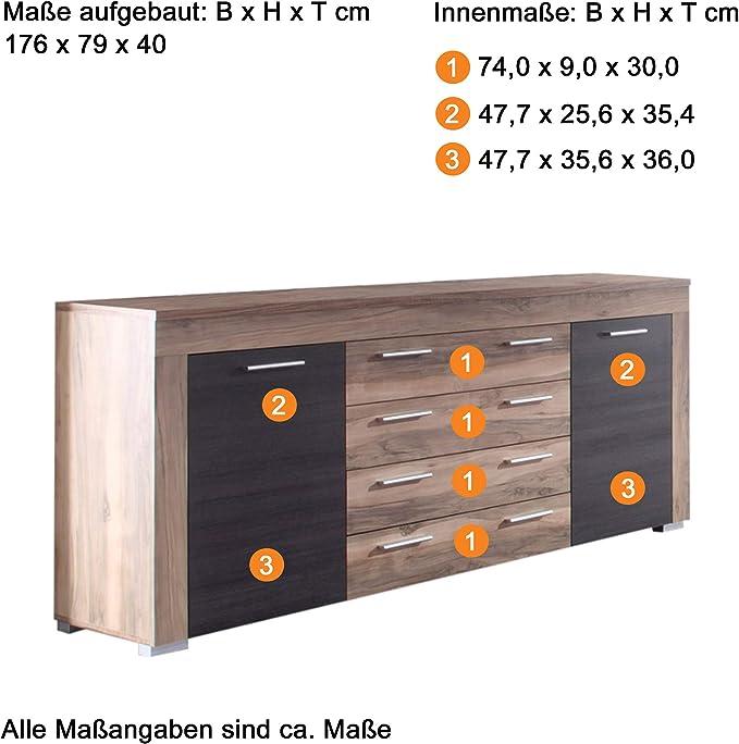 47 x 52 x 35 cm in Wei/ß mit viel Stauraum und Ablagefl/äche trendteam smart living Jugendzimmer/_Kinderzimmer Nachtkommode Kommode Nachtkonsole