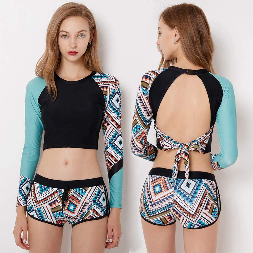 Allywit Women Rash Guards Crop Top+Shorts Set Surfing Swimsuit Bathing Suit