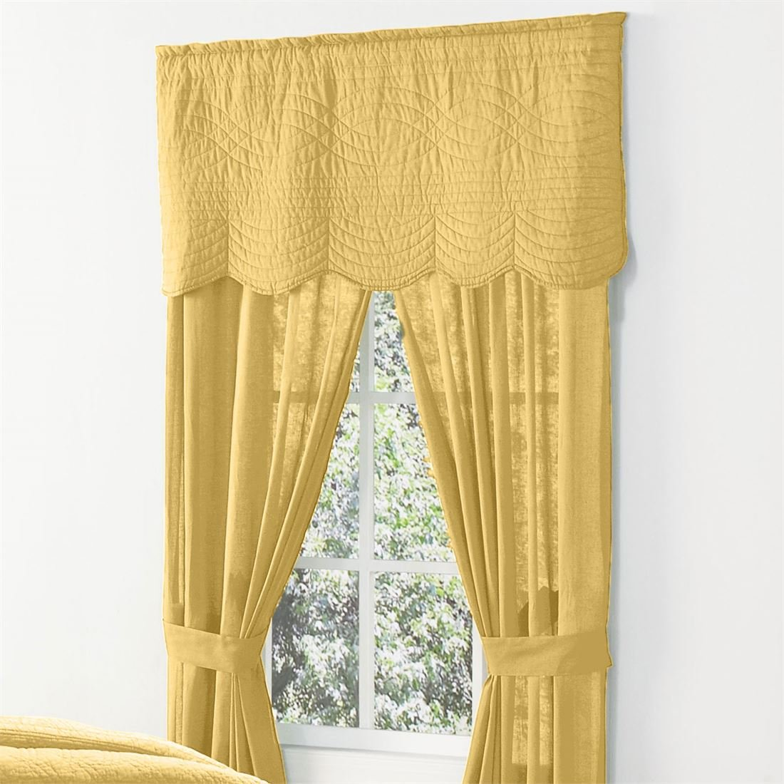 BrylaneHome Florence Rod Pocket Panel, 42 In X 84 In, Pair (Aspen Gold,0)
