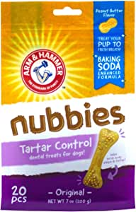 Arm & Hammer For Pets Nubbies Dental Treats for Dogs | Dental Chews Fight Bad Breath, Plaque & Tartar without Brushing | Peanut Butter, 20 Pcs (FF7613)