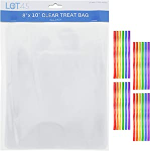 Lot45 Medium Clear Treat Bags with Ties 200-Pack - Clear Cookie Bags, Treat Pouch Bag, Medium Bakery Bag - 8x10 Inch