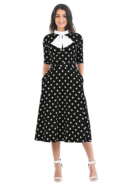 Vintage Polka Dot Dresses – 50s Spotty and Ditsy Prints eShakti Womens Bow Tie Polka Dot Knit Belted Dress $59.95 AT vintagedancer.com