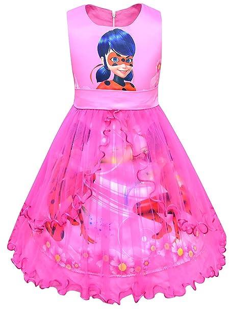 New front Niñas Vestido de Ladybug Disfraz de Princesa Fiesta sin ...