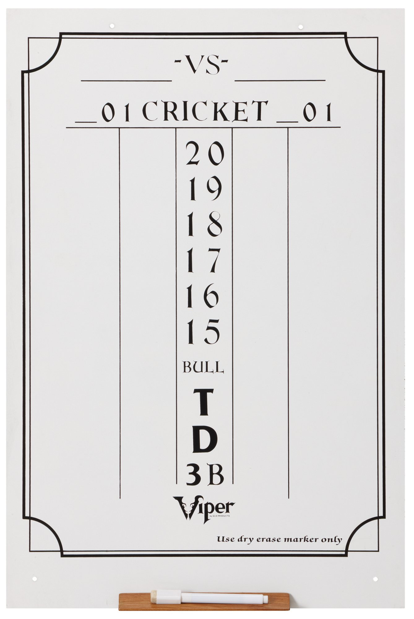 Viper Dry Erase Scoreboard, Cricket and 01 Dart Games, White, 23.5'' H x 15.5'' W