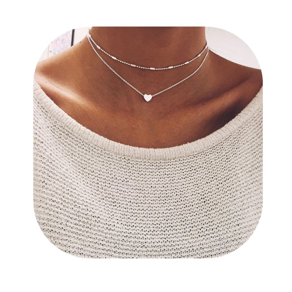 Anqifull Dainty Layered Gold Chocker Handmade Beads Fill Heart White Opal Necklace for Women Girls 012 by Anqifull (Image #2)
