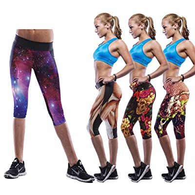 Rainbow Women's Colorful Yoga Leggings Exercise Workout Shorts (One Size fits al, YG8023)