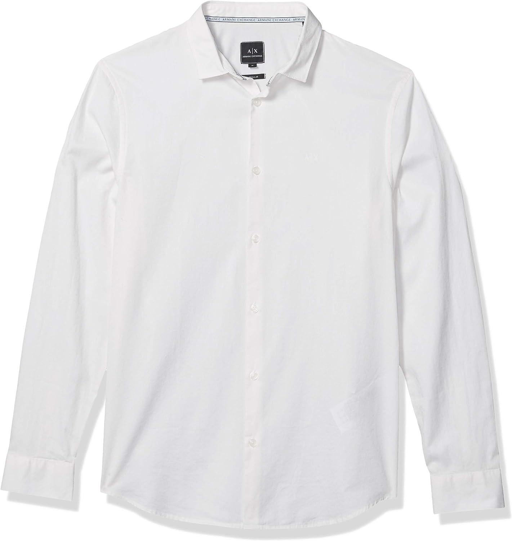 Armani Exchange Camisa de Damasco Hombre en Tela Blanca Art.6GZC19ZNSFZ-6151: Amazon.es: Ropa y accesorios