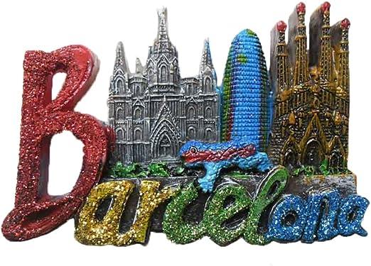 Imán para nevera con letras de Barcelona en 3D, diseño de Barcelona y España, recuerdo para decoración del hogar y la cocina, imán para nevera de Barcelona: Amazon.es: Hogar