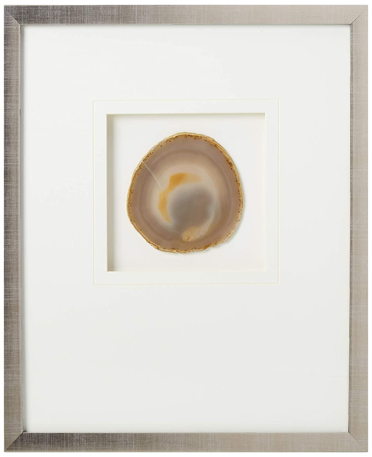 Madison Park Natural Agate Framed Canvas Wall Art 14X17, Global Inspired Wall Décor