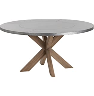Amazoncom Lewiston Industrial Loft Zinc Top X Base Round Dining