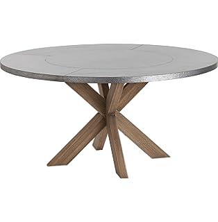 Ordinaire Halton Industrial Loft Galvanized Iron Wood Circular Dining Table