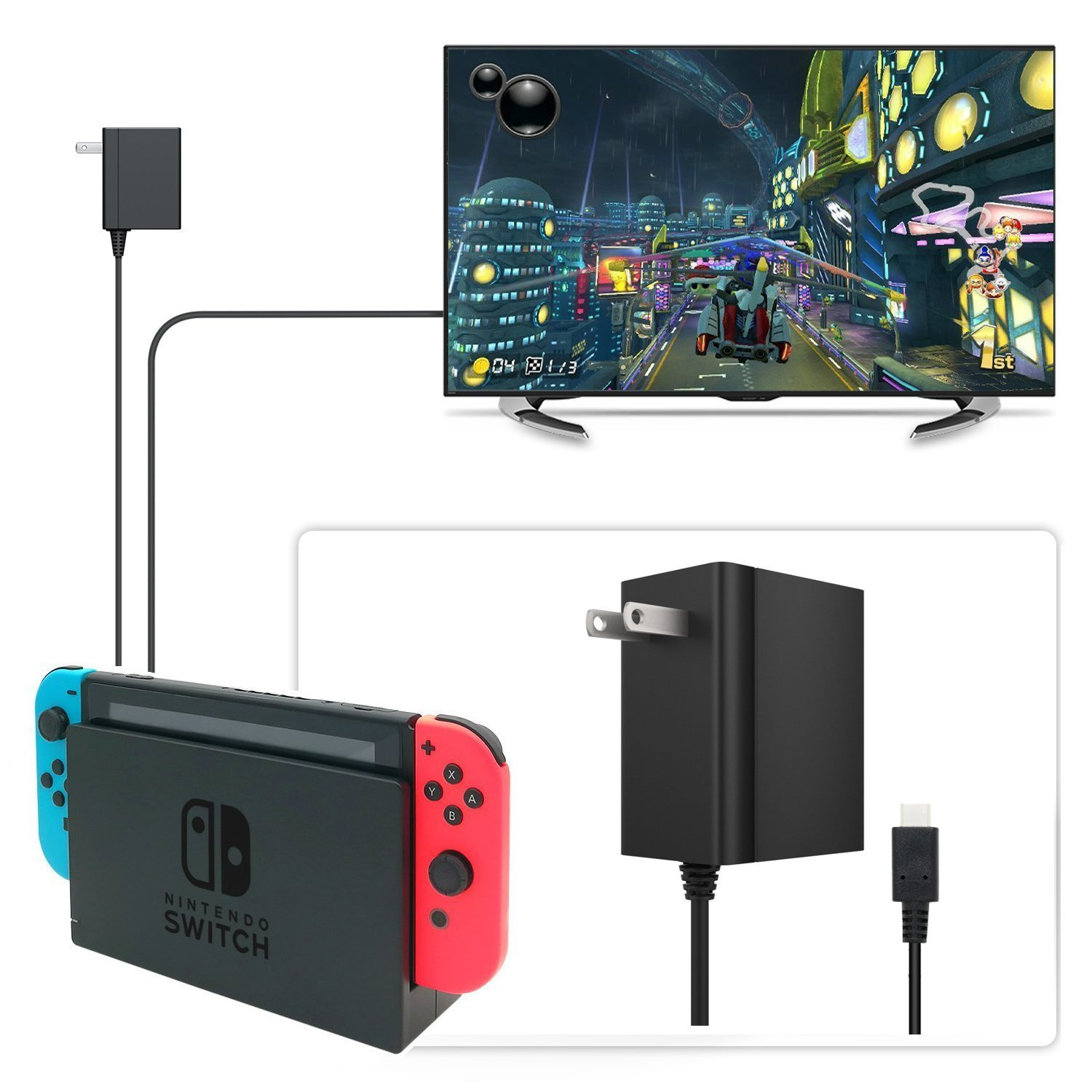 Nintendo Switch Charger AC Adapter Hopze Nintendo Switch Charger with 5 FT Power Supply Cord and Type C Fast Charging kit - 15V 2.6A AC Adapter for Nintendo Switch Supports TV Mode and Dock Station by Hopze (Image #4)