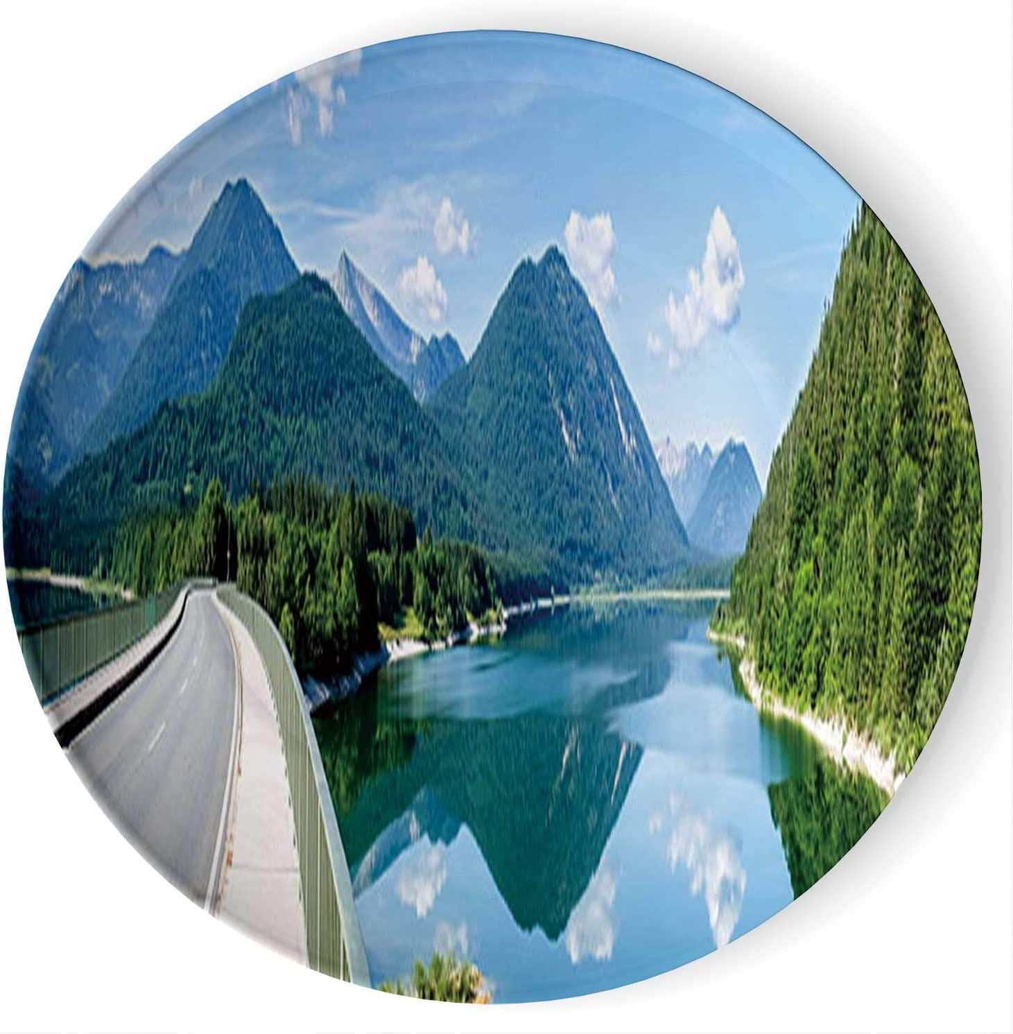 Swiss Uri Alps Landscape Art Home Ceramic Decorative Plate Collectible Display Plate Crafts,with Stand,for Living Room of The Home,6