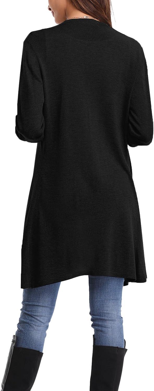 Abollria Donna Cardigan Lungo Drappeggiato Aperto Cardigan Elegante a Maniche Lunghe e Orlo Irregolare Golfino Cardigan a Maglia per Primavera Estate Autunno