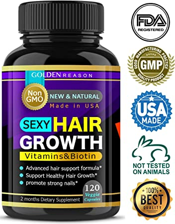 Sexy Hair Growth. Advanced Anti Hair Loss Vitamins. New Powerful Formula to Promote Longer, Stronger Hair. Non GMO.120 Capsules. Made in USA 1
