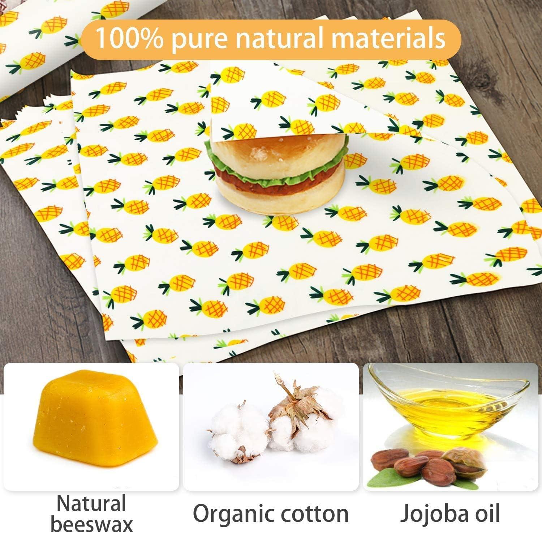 Mitening Involucri di Cera dapi Set di 7 Beeswax Wraps Riutilizzabile Regalo Ecologico Zero Rifiuti Sustainable Biodegradabile Senza plastica per Alimenti Variety Pack Frutta Formaggi Verdure