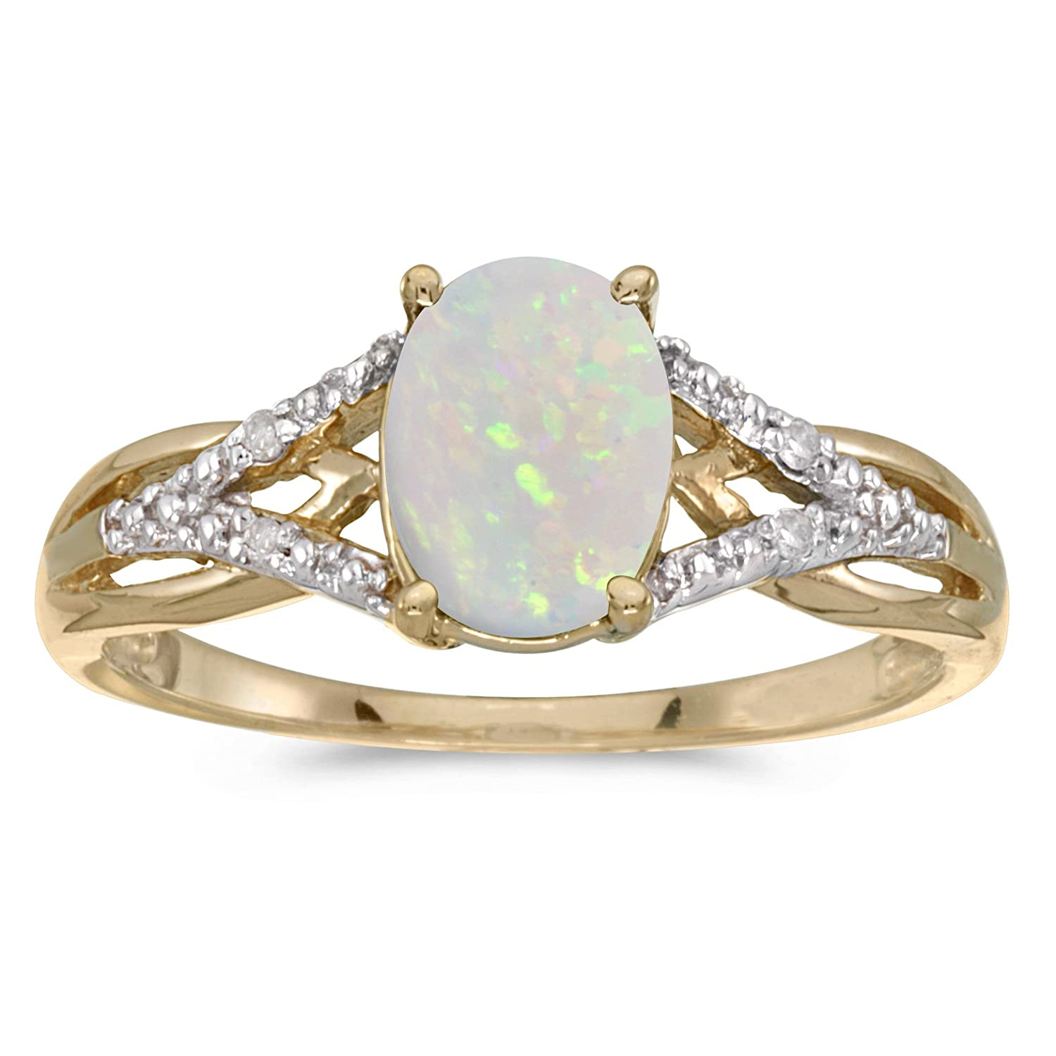 Amazon 14k Yellow Gold Oval Opal And Diamond Ring Jewelry