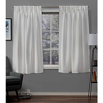 Marvelous Exclusive Home Curtains Sateen Twill Woven Blackout Pinch Pleat Curtain Panel Pair 63 Length Vanilla Machost Co Dining Chair Design Ideas Machostcouk