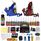 Solong Tattoo® Complete Tattoo Kit 2 Pro Machine Guns 14 Inks Power Supply Foot Pedal Needles Grips Tips TK210