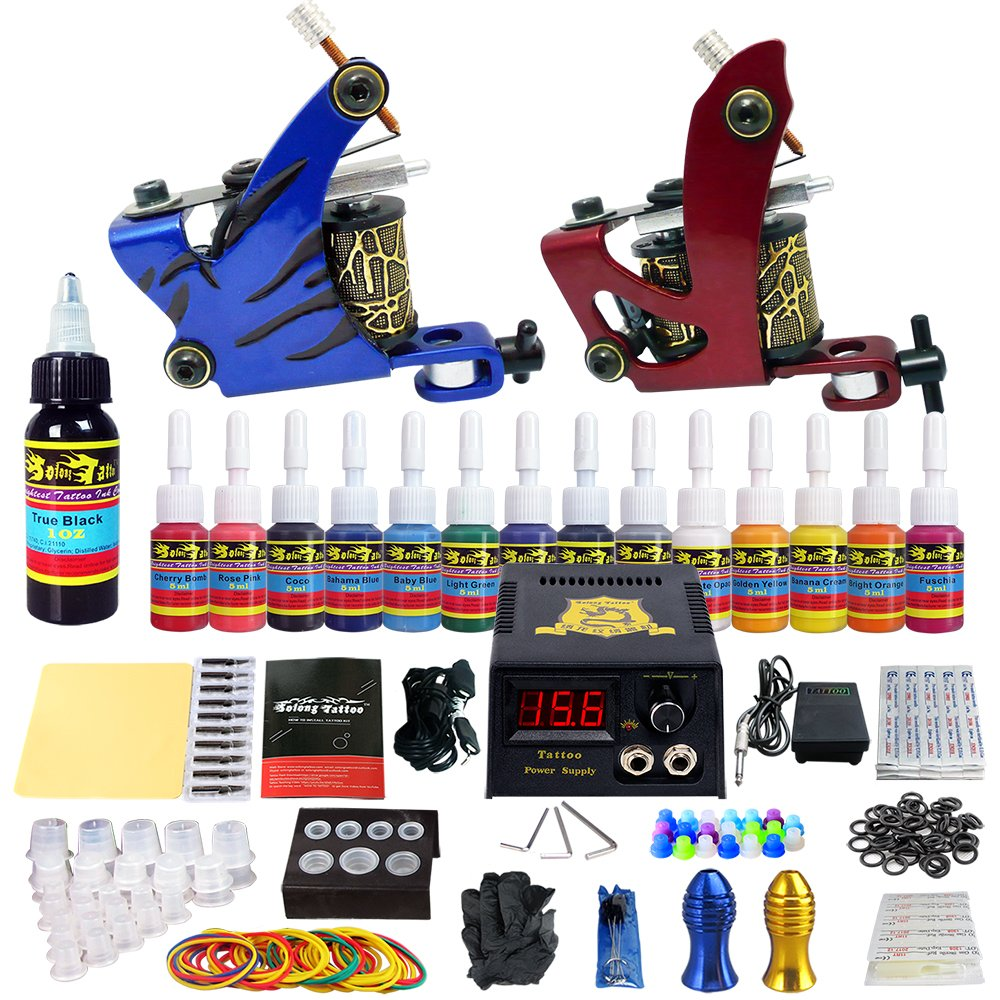 Solong Tattoo Complete Tattoo Kit 2 Pro Machine Guns 14 Inks Power Supply Foot Pedal Needles Grips Tips TK210 by Solong Tattoo