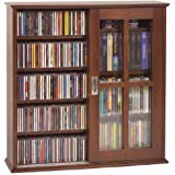 Leslie Dame MS 350W Wall Mounted Sliding Door Mission Style Media Storage  Cabinet, Walnut