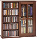 Leslie Dame MS-350W Wall Mounted Sliding Door Mission Style Media Storage Cabinet Walnut & Amazon.com: Atlantic Windowpane Media Cabinet With Sliding Glass ...