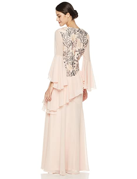 Amazon.com  Social Graces Women s V-Neck Long Bell Sleeve Floral Embroidery  Ruffle Drape Evening Gown 18 Plus Ballet Pink  Clothing e1b136868