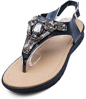 46b1b98ddd2 HeelzSoHigh Ladies Black Flat T-Bar Gladiator Summer Sandals Thong Flip-Flop  Shoes Sizes
