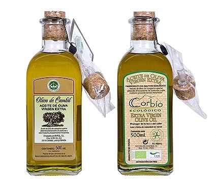 Corbío - Aceite de Oliva Virgen Extra Ecológico Picual, Pack de 2 botellas de 500 ml, con Dosificador