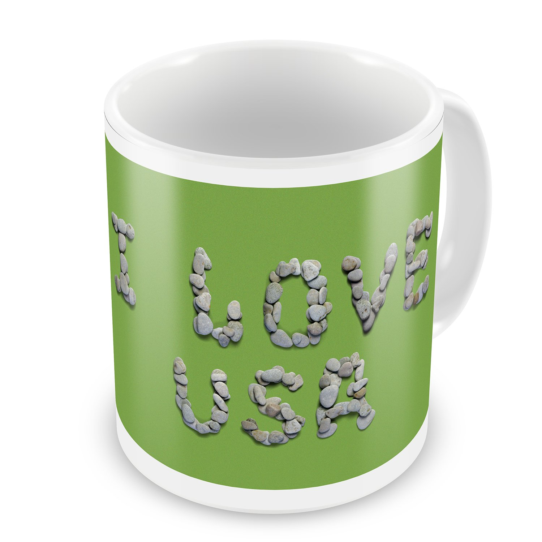 Coffee Mug I Love Usa Spa Stones Rocks - NEONBLOND