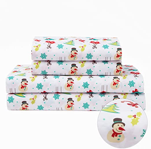 Microfiber Holiday Christmas Bedding Sheet Set Winter Snowman Snowflake Holly