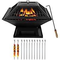 Houjing Outdoor Fire Pit Wood Burning with Mesh Cover