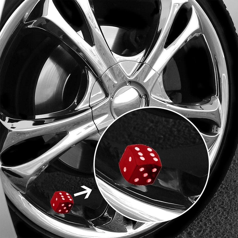 Rosso Asiproper 4 Pezzi Dadi Stile Pneumatici Auto Ruota Pneumatici valvola Copri Polvere