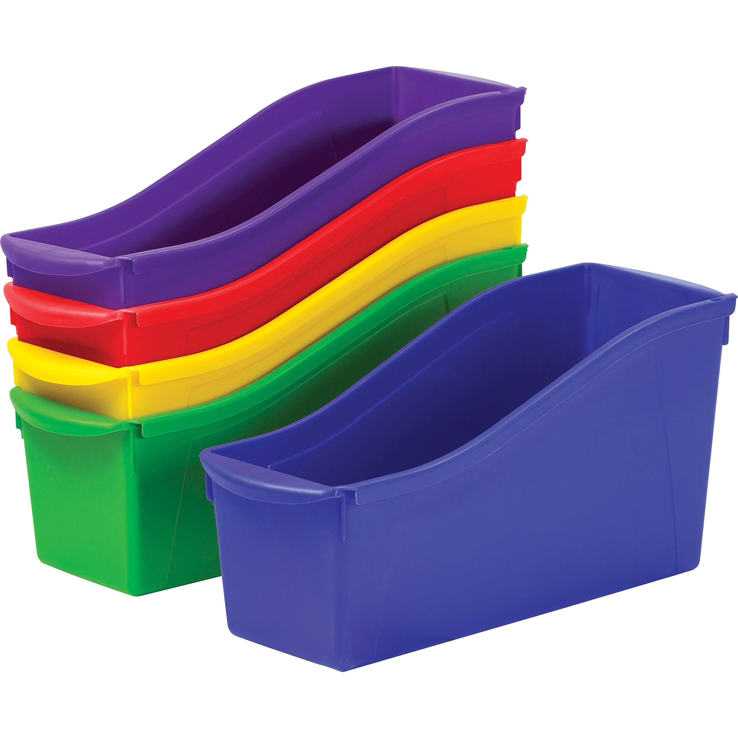 Storex 70105U06C Interlocking Book Bins, 4 3/4 x 12 5/8 x 7, 5 Color Set, Plastic
