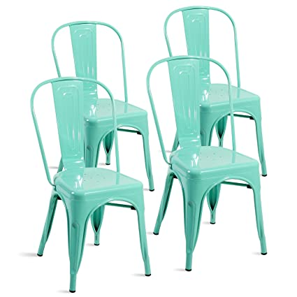 Amazon.com - Merax Set of 4 Metal Chairs Stackable Dining Room ...