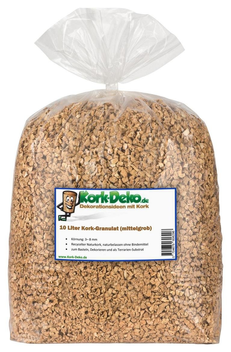 10 Liter Korkgranulat, MITTELGROB (3-8 mm) (Kork-Substrat, Kork-Schrot) für Terrarien (Reptilien), Terrariensubstrat (Späne, Einstreu, Bodengrund) oder Dekoration/Modellbau Kork-Deko Kork-Deko_10L_mittelgrob