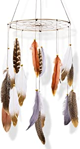 Boho Feather Dream Catcher Baby Crib Mobile, Bohemian Dreamcatcher Gender Neutral Wall Hanging Decor, Large Ornament Hanger Gift for Kids Nursery Ceiling Children Bedroom Outdoor Tent Teepee
