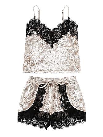 335ea8095c6 Lace Trim Velvet Bralette and Shorts Pajama Set Romper Teddy Nightwear  Dresses Lingerie Women s(Beige