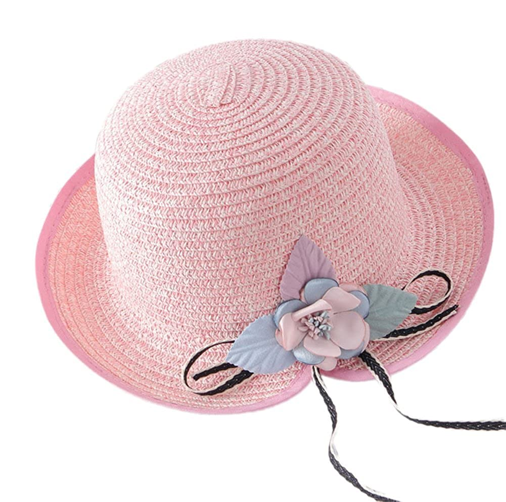 JUNGEN Bowler Hats Straw Hat Sun Hat Cap for Children with Flower Decoration and Neck Flap 54-56CM NPV104953UPGY218