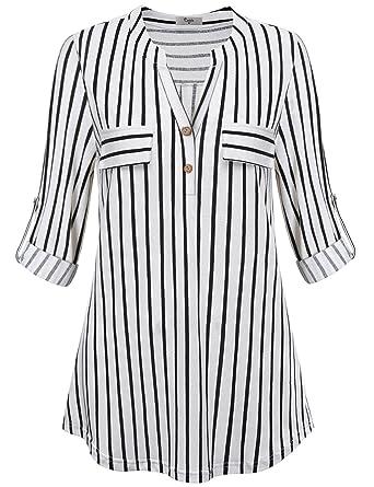 Cestyle Women Notch V Neck Dressy Blouse Maternity Tunics Plus Size