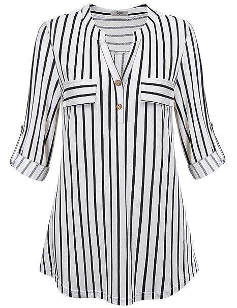 4d695b01 Cestyle Women Adjustable Long Sleeve Classic Checked Shirts Plaid Blouse:  Amazon.co.uk: Clothing