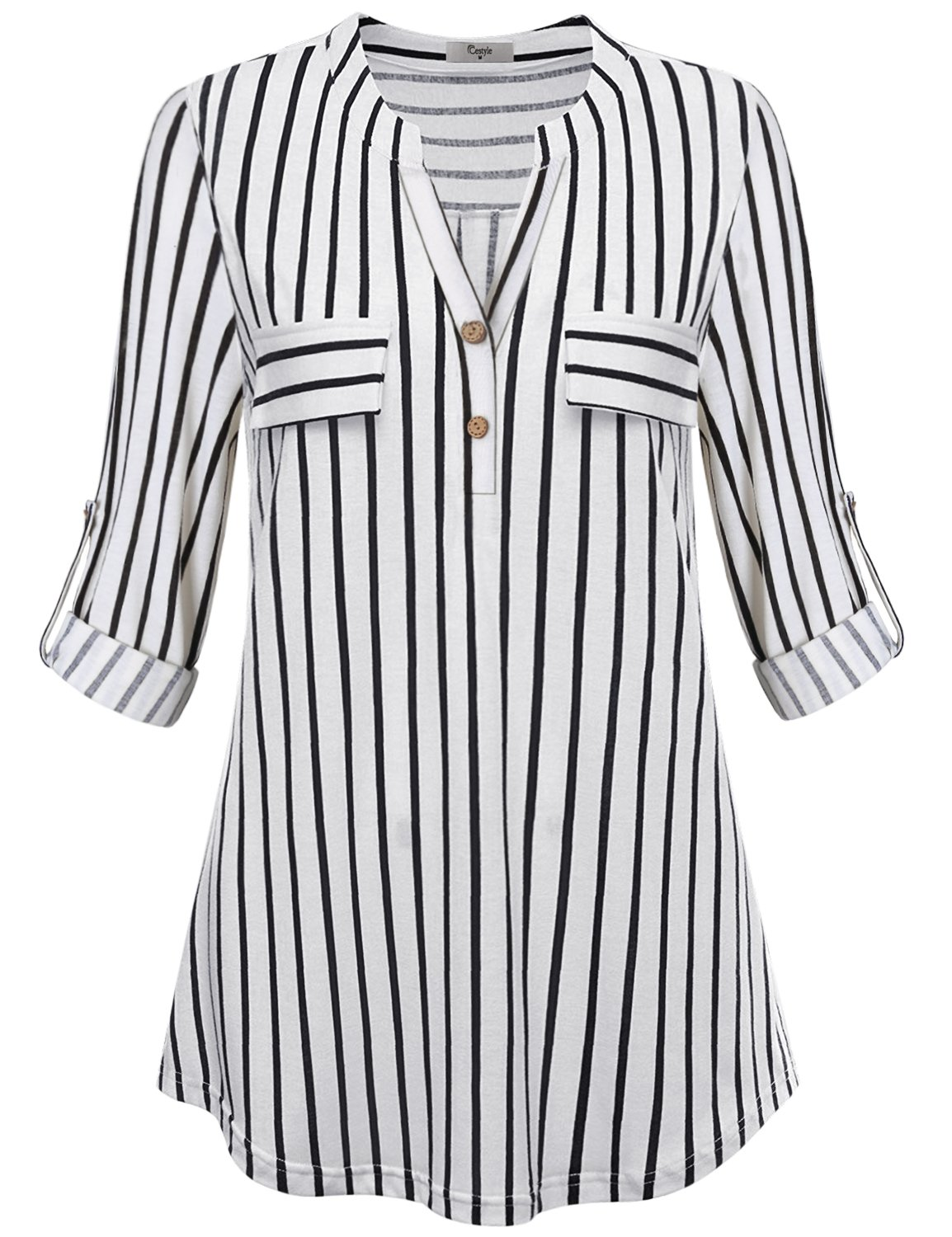 Cestyle Business Casual Tops for Women, Striped Shirt Fall Blouse Roll Sleeve Notch V Neck Rounded Hem Soft Knit Plus Size Elegant Wear Maternity Tunic Black Stripes XX-Large