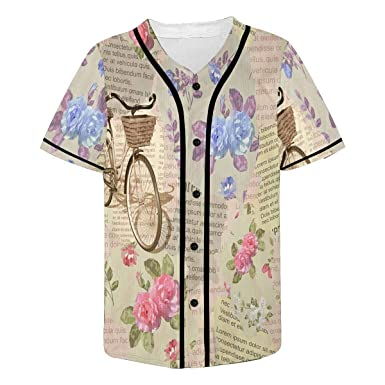 6927955e11d4 INTERESTPRINT Men's Button Down Baseball Jersey Active Shirts ...