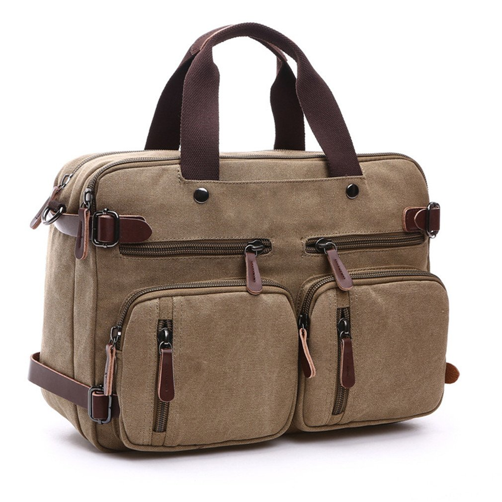 Canvas Leather Men Travel Bags Hand Luggage Bags Travel Hide The Shoulder Strap Handbags School Khaki
