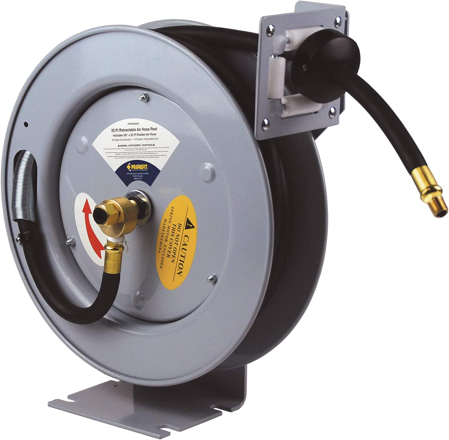 Primefit HRRUB380253 Industrial Grade Retractable Air Hose Reel with 25-Foot Rubber Air Hose, Medium