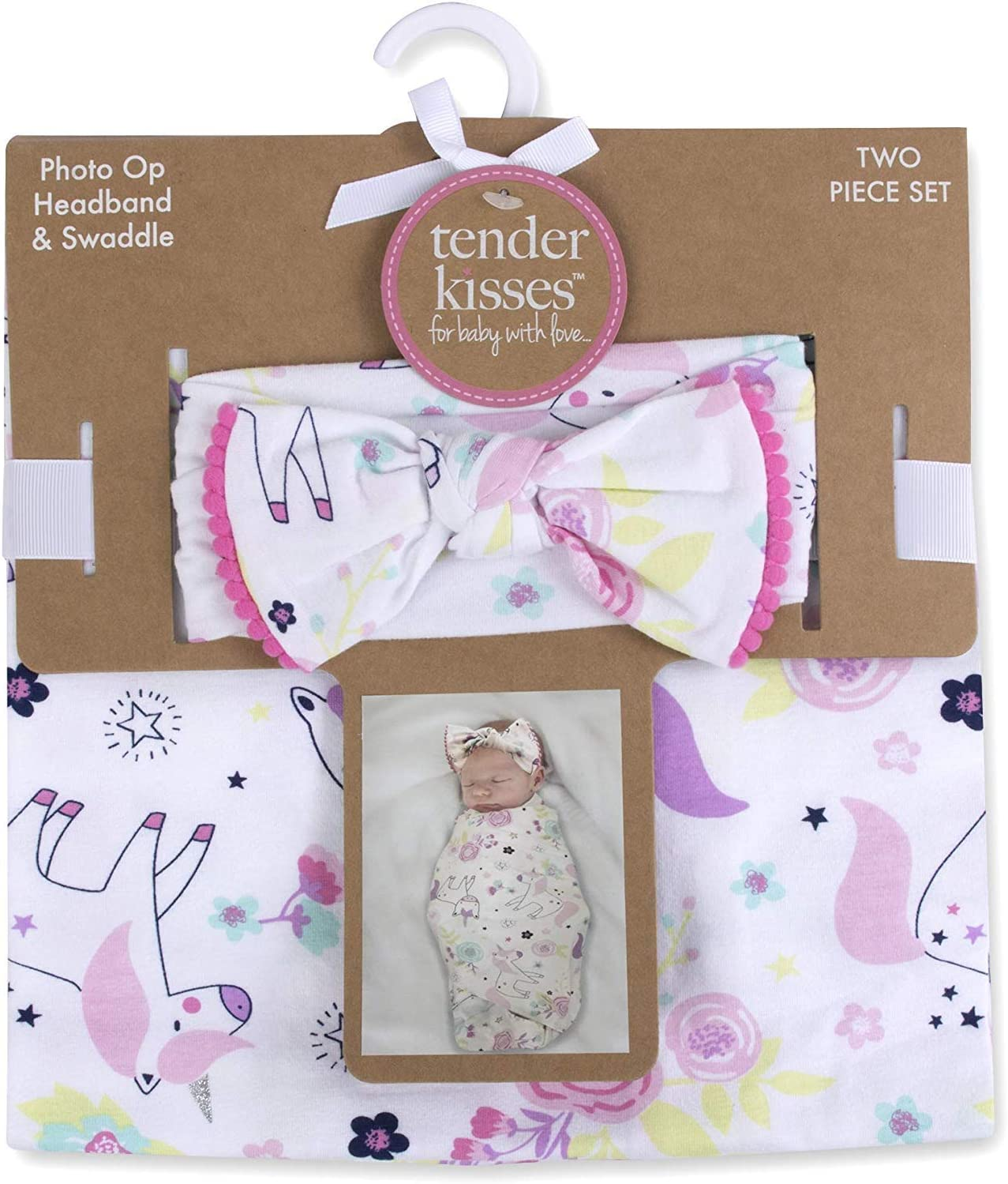 Tender Kisses Soft Cotton Baby Swaddle Wrap Blanket with Matching Hat or Headband Cap Set for Newborns and Infants (Unicorn1)